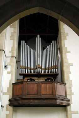 St Benet's Kentish Town, the chancel pipe organ and its gallery.