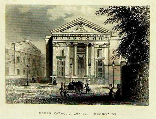 """]St Mary Moorfields (1820), Finsbury Circus, London EC2 (UK) by John Newman (1786–1859). """"Illustrated London, or a Series of Views in the British Metropolis and its Vicinity"""" by A. H. Payne (London : 1846-1847)"""
