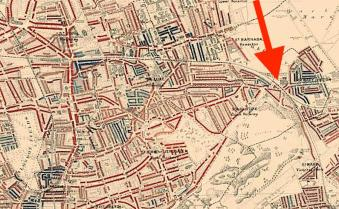 The location of St Mary-of-Eton church London E9, c.1898, from William Booth's 'Life and Labour of the People in London': http://booth.lse.ac.uk