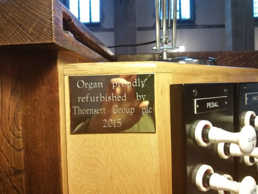 St Mary of Eton, Hackney Wick, London; the organ restoration funder's plate 2016