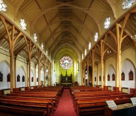 St Monica's Priory, Hoxton, London (UK); nave, looking east, before the renovation of the chancel decorations.