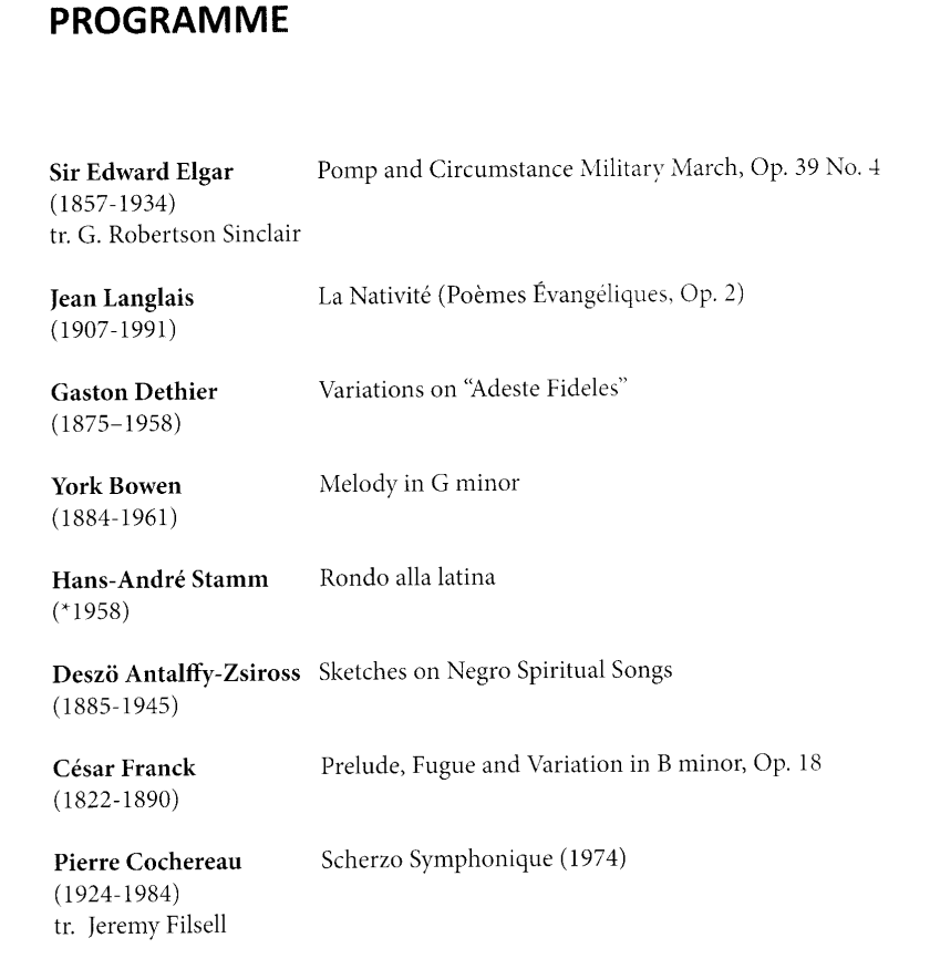 Jane Parker-Smith, organ recital in the Grand Temple at Freemasons Hall, London, 14 December 2016; programme