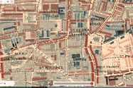 Detail of Charles Booth's 'Maps Descriptive of London Poverty, 1898-9'; the black marker indicates Hoxton Square. (Source: https://booth.lse.ac.uk/). The Priory church, house and school, occupies the northern end of the eastern side of the square.