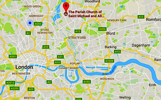 Location of St Michael and All Angels church, London E17. Google Maps.