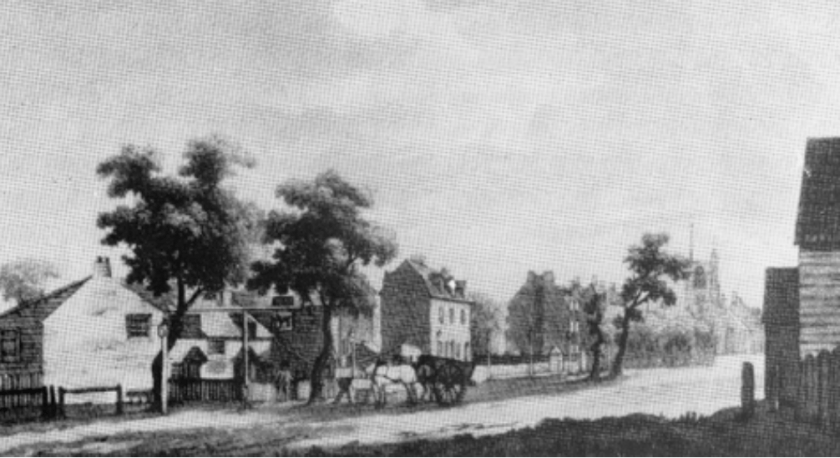 Bow Road, looking east c.1793.