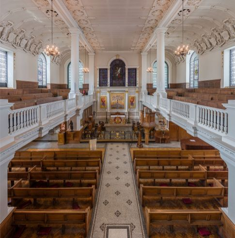 Church of St Botolph-without-Aldgate, London (1741-4); interior looking west (c.2000)