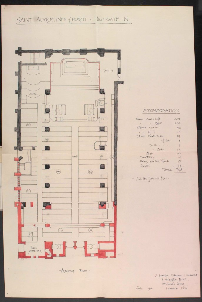 The church of St Augustine of Canterbury, the ground plan, as envisaged (1914) by the architect J. Henry Gibbons. (Source: Paul Bell, 2012).