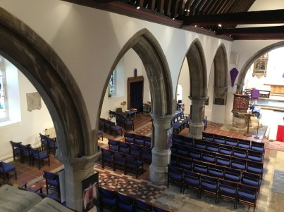 Nave, chancel, and nineteenth-century north aisle at St Mary's church Willsesden. ©Andrew Pink 2016