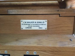 Builder's plate on the organ in the church of St Joan of Arc, Highbury, London.