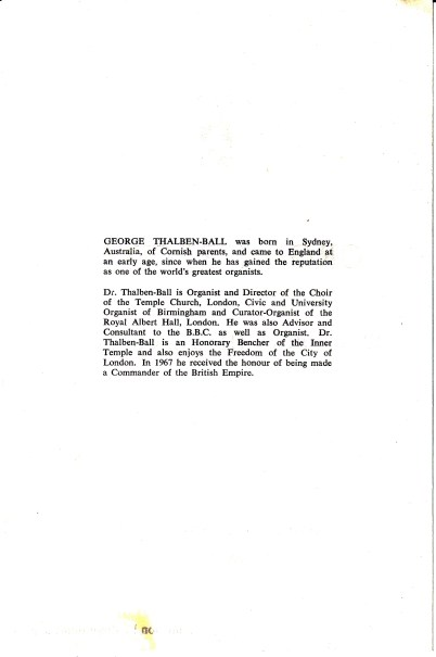 Programme for an organ-recital by George Thalben-Ball, St Augustine's church Highgate, London on 25 October 1975. [page2/3]