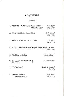 Programme for an organ-recital by George Thalben-Ball, St Augustine's church Highgate, London on 25 October 1975. [page3/3]