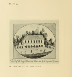 The Long Room at St Pancras Wells, with Old St Pancras Church behind. [Early 18th century]. Source: Survey of London.