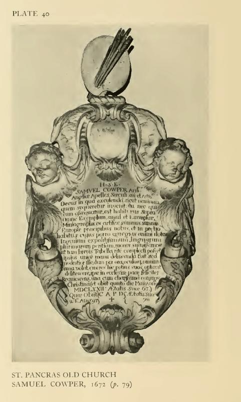 St Pancras Old Church, London NW1. Memorial to Samuel Cowper (1609-72) and Christina Cowper (d.1693). Source: Survey of London.