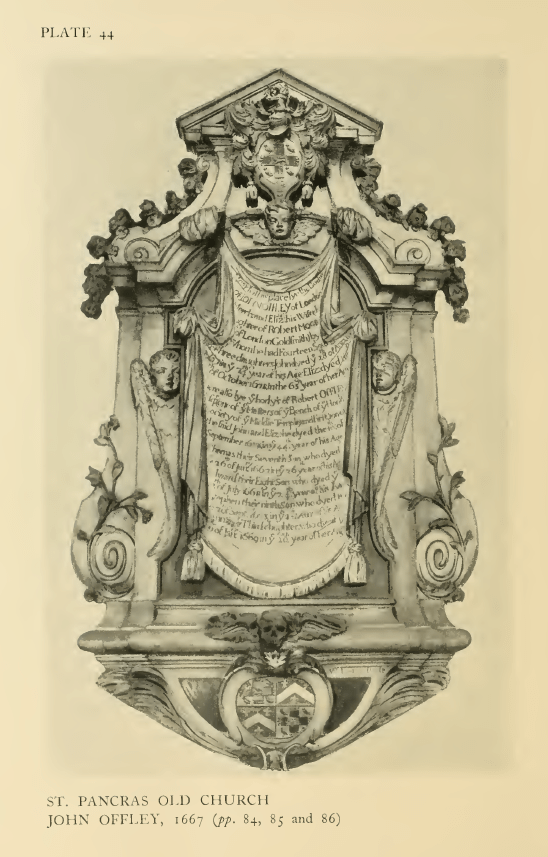 St Pancras Old Church, London NW1. Memorial to John Offley (1593-1667) and family members. Source: Survey of London.