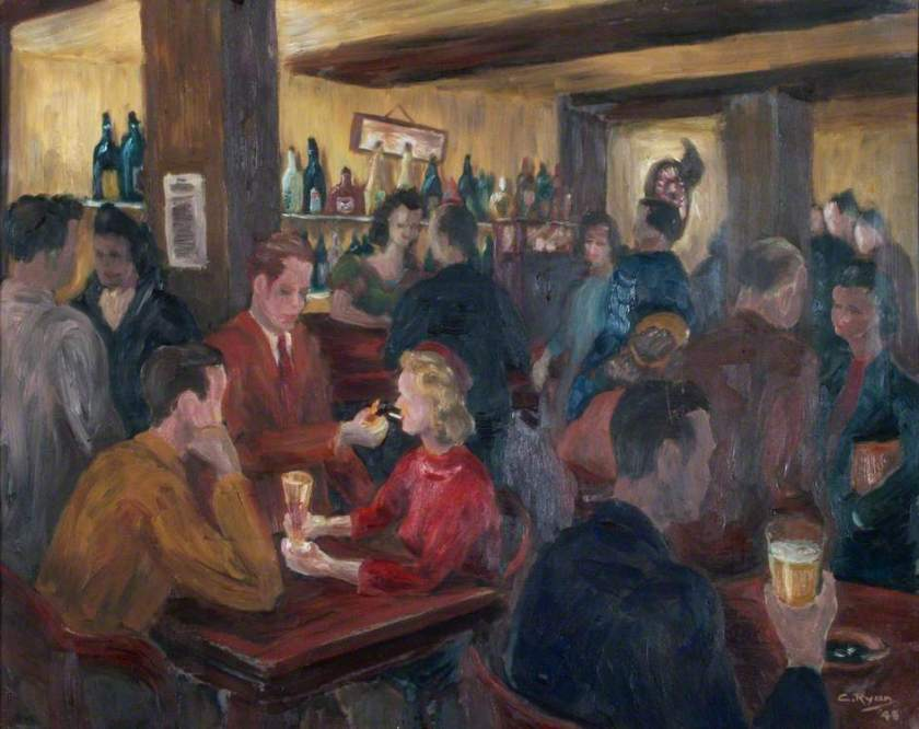 'The Stag and Hounds' [the public bar],Bury Street, Edmonton, north London, oil on canvas by C. Ryan (n.d.). Source: Enfield Museums Service.