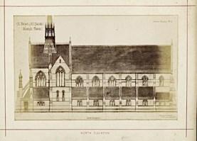 St Benet and All Saints church, Kentish Town, London; north elevation (1877). Drawing by Joseph Peacock. [Source: RIBA ref. RIBA94818]
