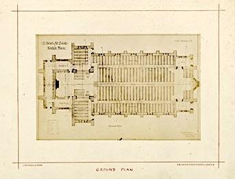St Benet and All Saints church, Kentish Town, London; ground plan (1877). Drawing by Joseph Peacock. [Source: RIBA ref. RIBA94818]