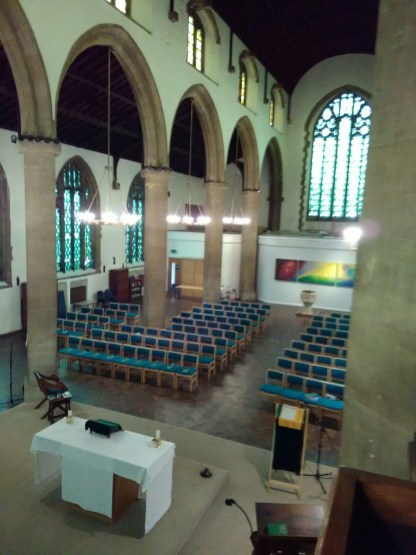 St Barnabas Southfields (London UK). The nave, looking west. [Source: Andrew Pink © 2019]