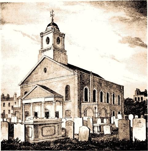 'St. Mary Newington church, 1827' [Source: 'Survey of London', vol. 25, p. 92]