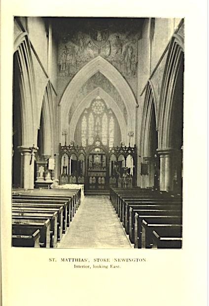 St Matthias Stoke Newington, interior looking east c.1908. Source 'London Churches' T. F. Bumpus