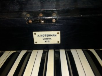 Builder's plate on the pipe-organ at St Matthias Stoke Newington, London N16.