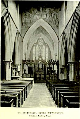 St Matthias Stoke Newington, London N16, looking east, c.1908 [Source: Bumpus]