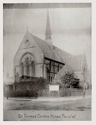 St Thomas, Kensal Road, London W10; The first church building [Source: www.sthomaskensaltown.co.uk]