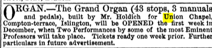 Opening organ recital, Union Chapel, Islington, London UK. [Source: The Musical Times, 13/297 (Nov. 1, 1867)]