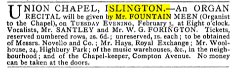 An organ recital at the Union Chapel, Islington London (UK) [Source: The Musical Times, Vol. 21, No. 444 (Feb. 1, 1880)