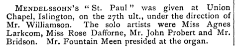 A concert at the Union Chapel, Islington, London (UK). [Source: Source: The Musical Times, Vol. 26, No. 505 (Mar. 1, 1885)]