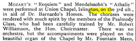 A concert at the Union Chapel, Islington, London (UK). [Source: The Musical Times, Vol. 33, No. 589 (Mar. 1, 1892)]