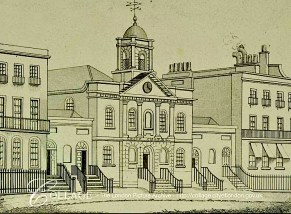 The Union Chapel, Compton Terrace, Islington, London UK (c.1820). Engraving by C. Rivers (?-?). [Source: collage.cityoflondon.gov.uk]