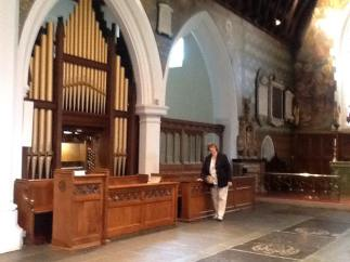 All Saints church, Edmonton, north London, The present-day organ seen in the chancel, north side. Peggy Dell - who in the 1970s kept teenage choristers like me out of mischief - looks on.