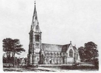 The church of St John of Jerusalem in Hackney, east London, UK; a nineteenth-century engraving of the south side.