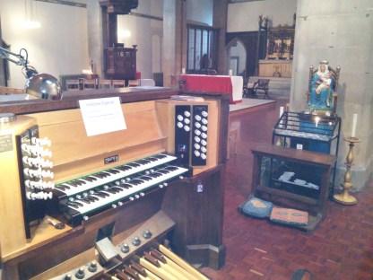 St Mary-of-Eton church (1890), London E9, organ console and sanctuary, 2016