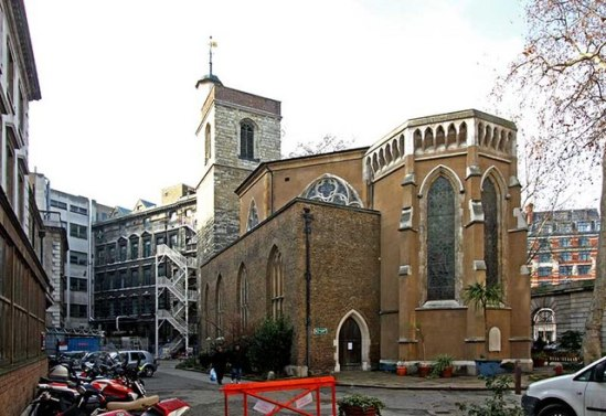 The west end of St Bartholomew the Less, Smithfield.