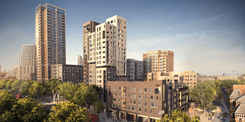 """A promotional image for 'Elephant Park"""" (under construction 2017), which replaces the former public housing once provided by the Aylesbury Estate"""