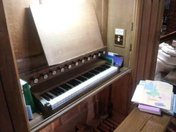 St Michael and All Angels church, Walthamstow, London E17. G. M. Holdich pipe-organ keyboard.