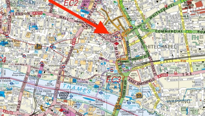 Present-day location of the church of St Botolph-without-Aldgate c.2017