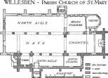 Plan of St Mary's Church, Willesden, from 'An Inventory of the Historical Monuments in Middlesex (London: His Majesty's Stationery Office, 1937)