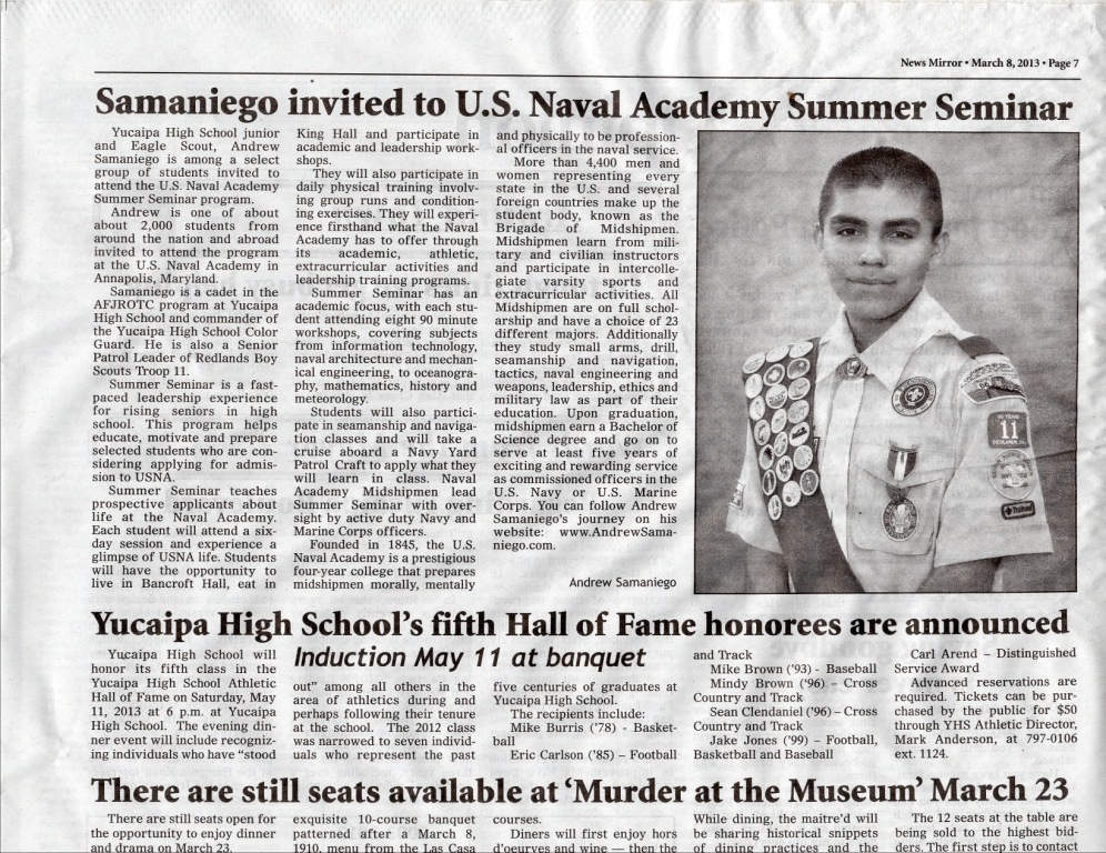 Andrew Samaniego Invited To The Naval Academy Summer