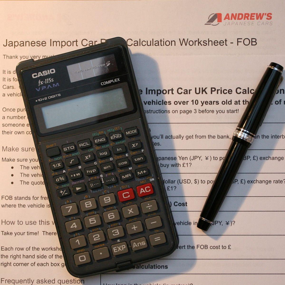 Japanese Import Car Uk Price Calculation Worksheet
