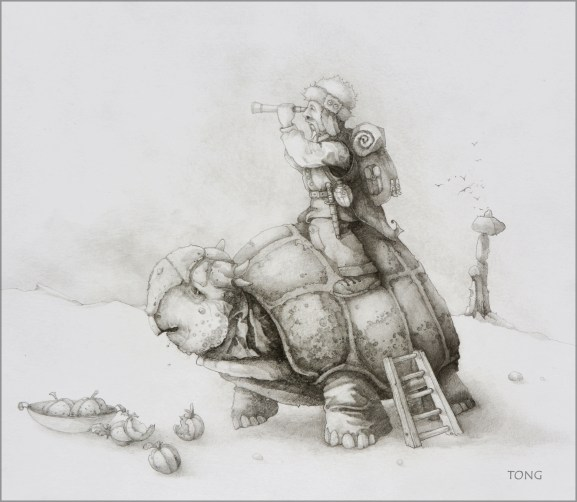 Explorer sitting ontop an armored turtle that is eating apples from a bowl