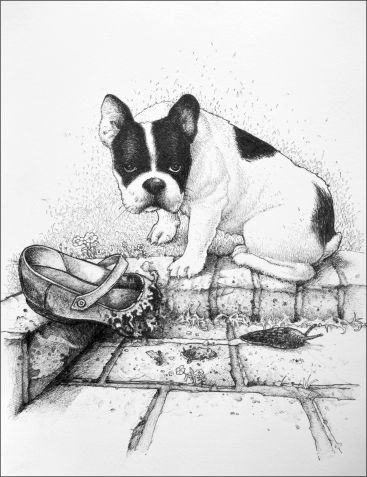Drawing of dog with chewed up shoe