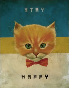Oil painting of cat with writing stay happy