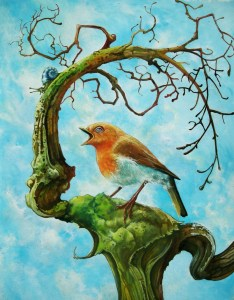 Red Robin singing on a leafless tree oil painting Andrew Tong Art