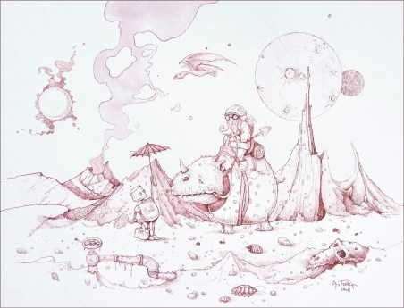 Ink drawing with desolate landscape showing a friendly hitchhiking robot and gnome on a rhino-type creature