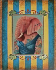 Oil painting portrait of pink elephant covered in tattoos in blue fancy dress