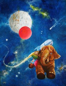 Oil painting of an elephant with a rocket on his back flying through space