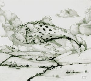 Pencil drawing of a flying leviathan above a hilly landscape